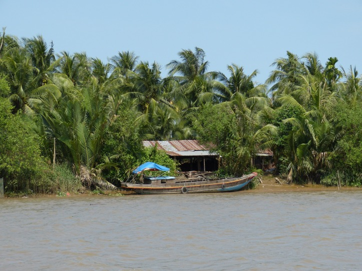 A house sits on the edge of the Mekong River.
