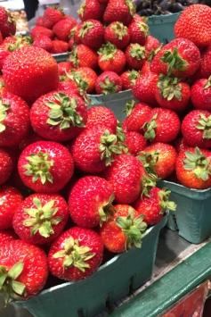 Strawberries at Granville Island Public Market.