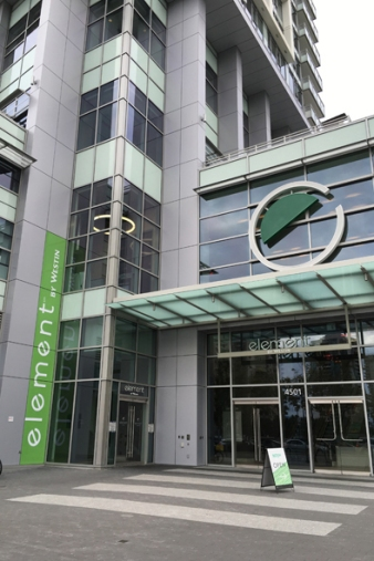 Element Vancouver Metrotown is a green hotel in the Canadian city's suburbs. Pic Sarah Nicholson