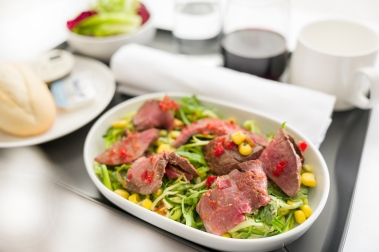 Salad of cumin spiced beef with zucchini, corn and a citris dressing - Economy and Premium Economy menu ex PERLHR B787 QF9