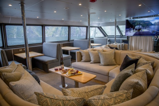 The Fiordland Jewel is a custom-built 24m catamaran featuring a helipad, hot tub, private king suites and chef-prepared cuisine that can accommodate up to 20 people per departure with Fiordland Discovery the only tourism business in Milford Sound offering overnight cruises during winter.