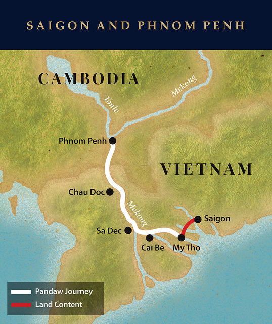 Pandaw Saigon/Phnom Penh cruise map